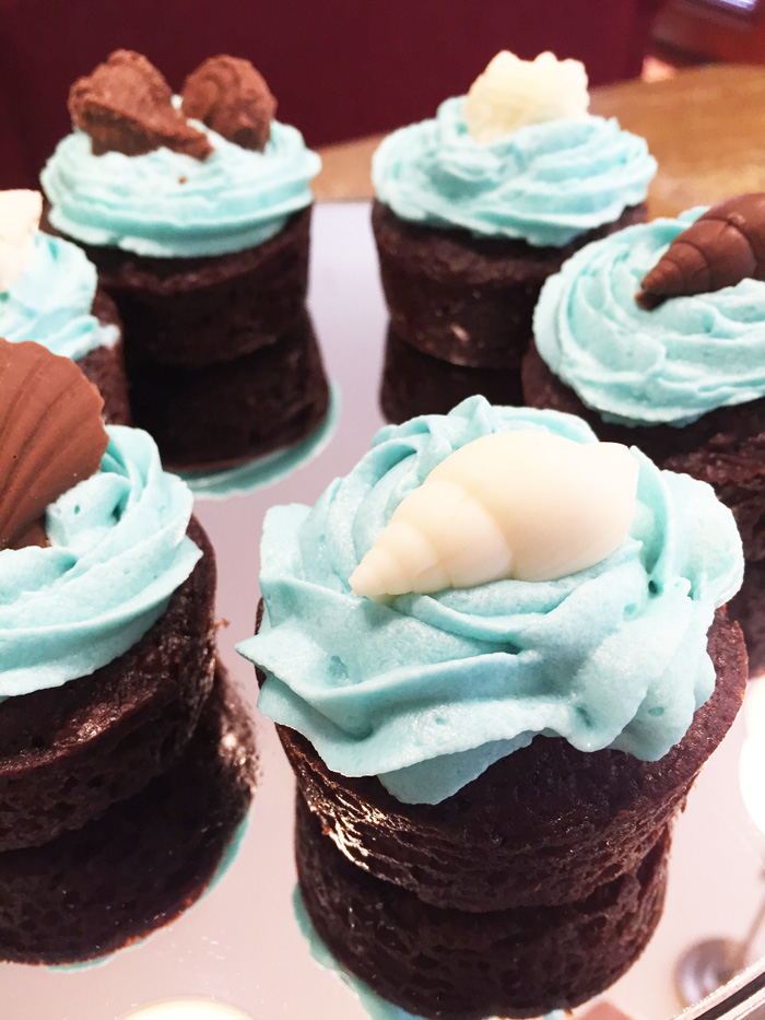 Molded Chocolate Shells on cupcakes - chocolate molds