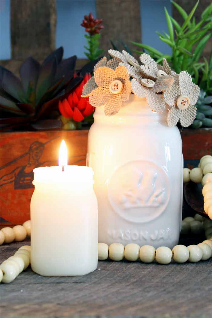 With these DIY candle making techniques, you can make mason jar candles! These mason jar shaped candles would make great gifts!