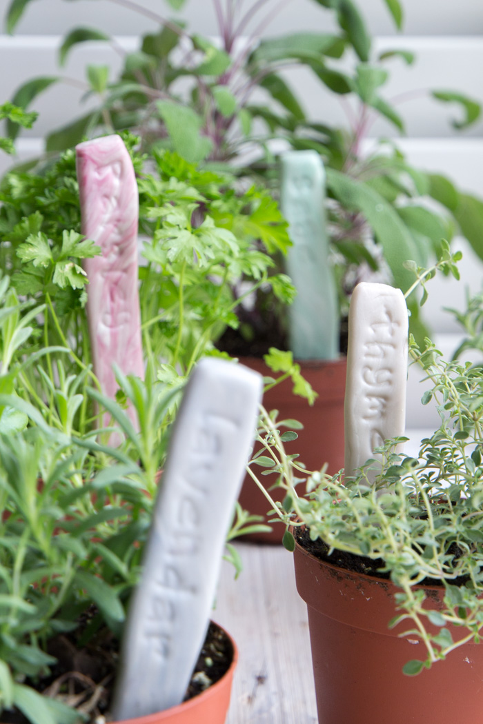 Adorable! DIY Plant labels. Make stamped clay markers for your herb garden.