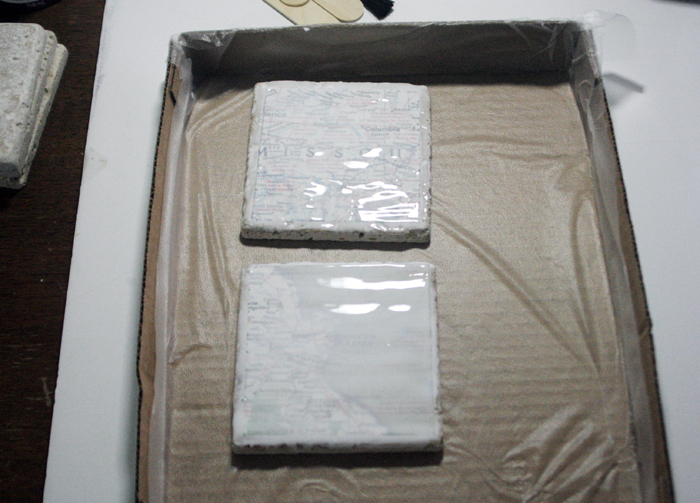 Geographic Tile Coasters - Ultra Seal maps onto sealed tiles
