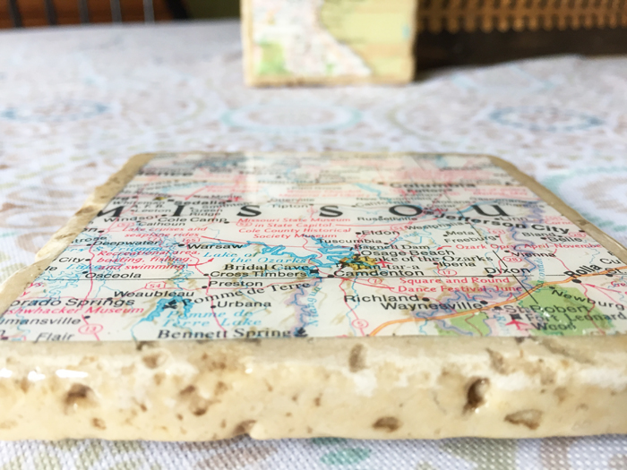 Geographic Tile Coasters - completed 2 close