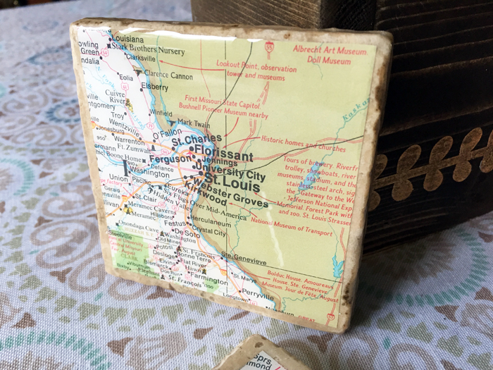 Geographic Tile Coasters - completed 3