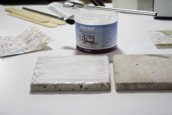 Geographic Tile Coasters - seal tiles with ultraseal