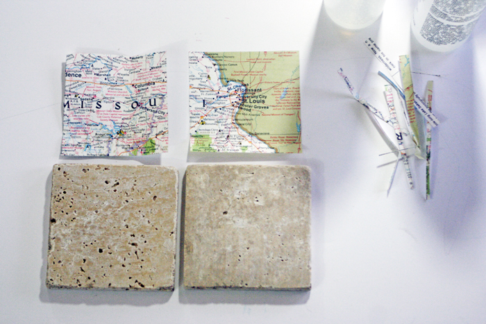 Geographic Tile Coasters - trim paper maps to fit tile