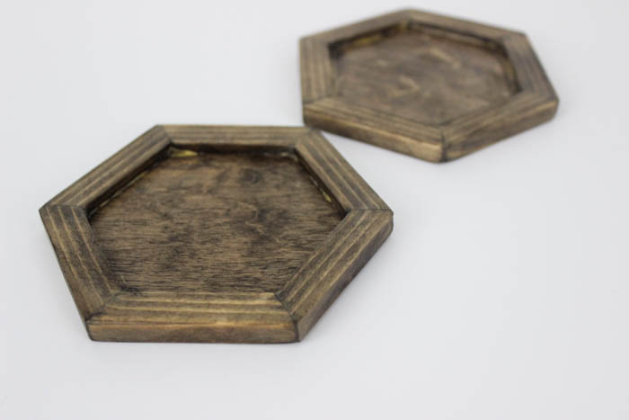 A simple wooden frame for your own modern hexagon coasters