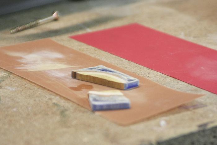 wood resin pendant - sanding with fine sandpaper