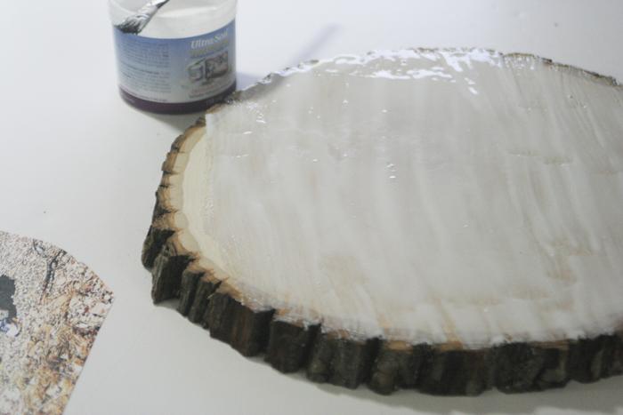 Glossy Wood Slice Photo Transfer - applying Ultra-Seal to wood slice