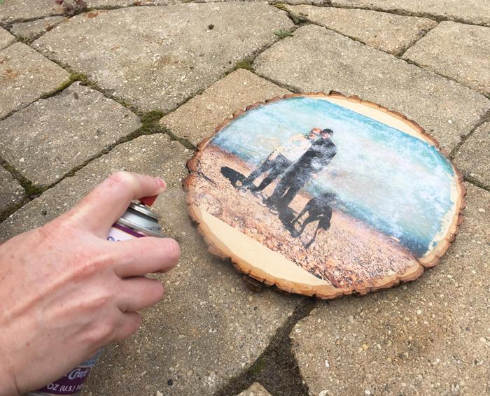 Glossy Wood Slice Photo Transfer - before resin spray