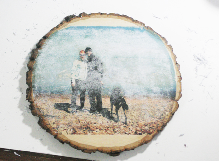 Glossy Wood Slice Photo Transfer - check paper with water, if white, rub more