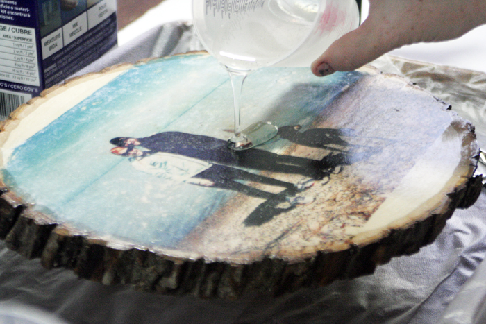 Glossy Wood Slice Photo Transfer - pouring on Envirotex Lite