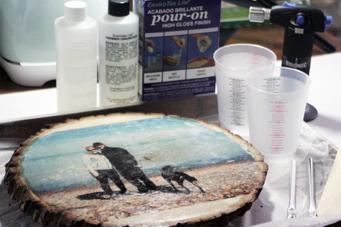 Glossy Wood Slice Photo Transfer - prep and supplies for epoxy coating
