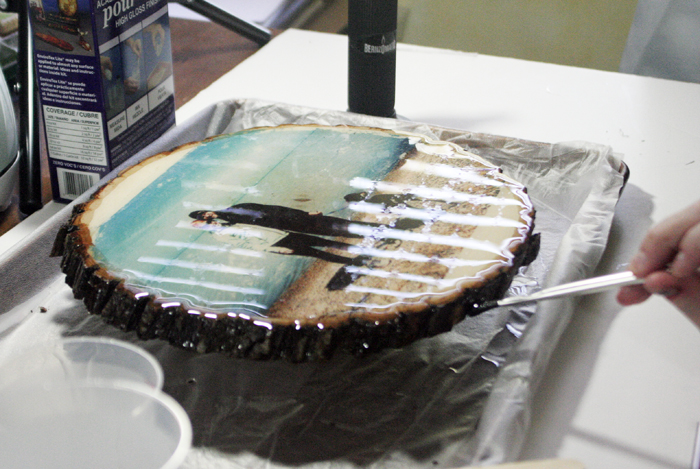 Glossy Wood Slice Photo Transfer - use paintbrush to wipe off drips