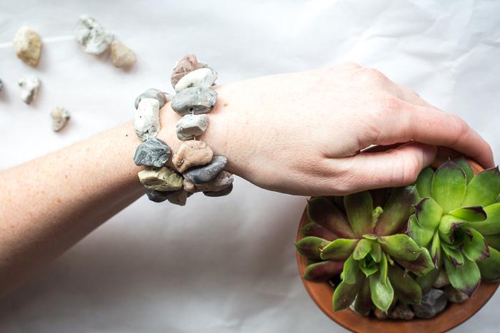 DIY boho jewelry ideas - learn to make a stacked faux stone bracelet.