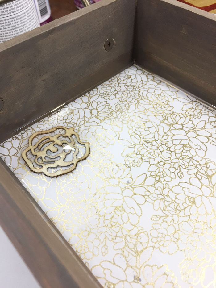 Wood and Resin Tray - resin poured, bubbles popped