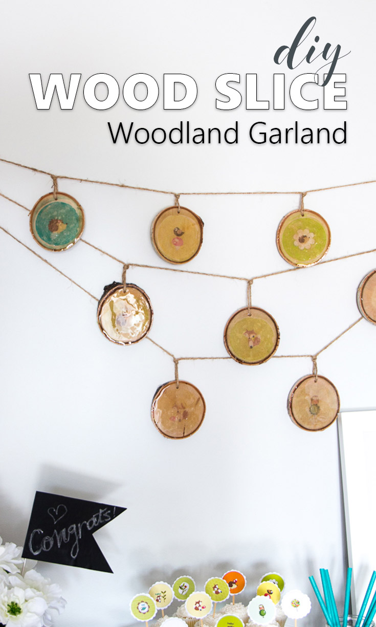 This wood slice garland is adorable. Great way to decorate for a baby shower or woodland themed birthday party, or as rustic woodland nursery decor.