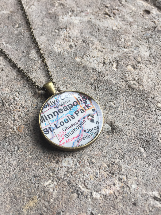 Resin Map Pendant - completed