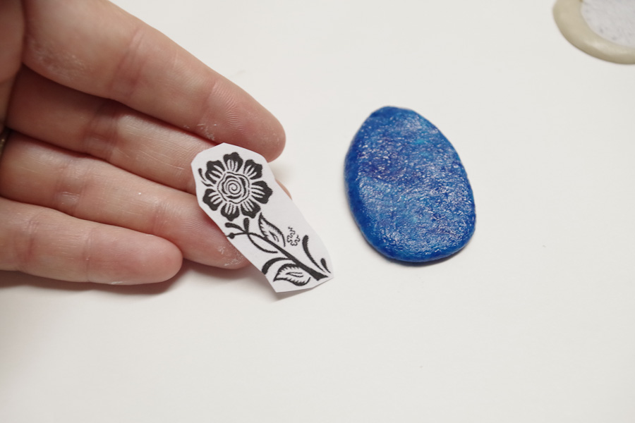 Clay Pendant Ink Transfer- add image to blue clay while still sticky