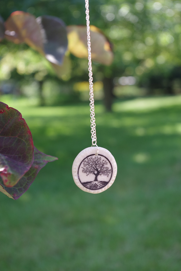 Clay Pendant Ink Transfer finished circle tree pendant