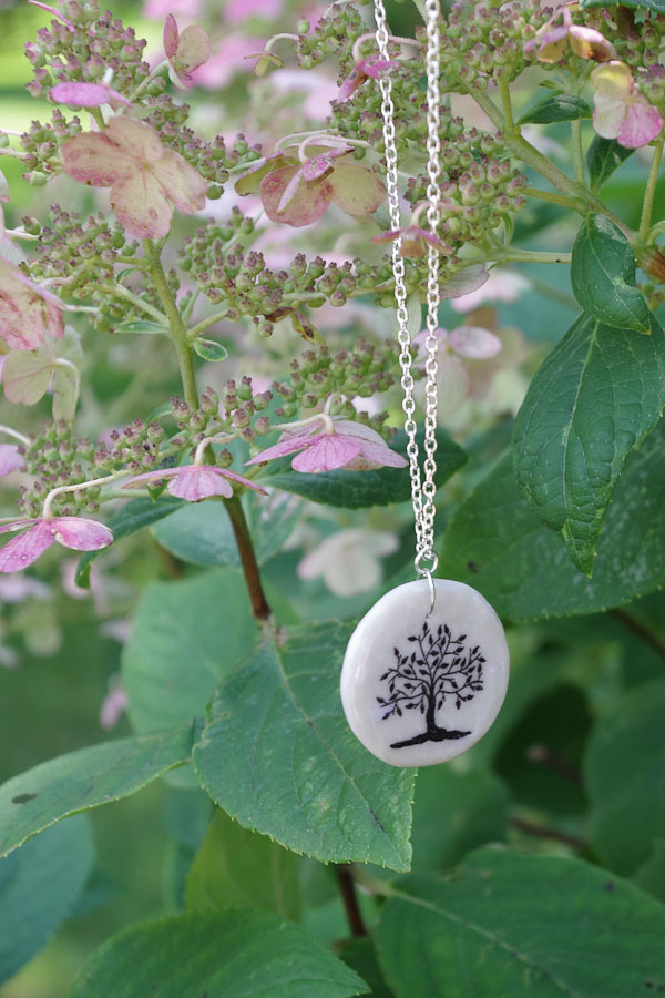 Clay Pendant Ink Transfer- finished tree pendant