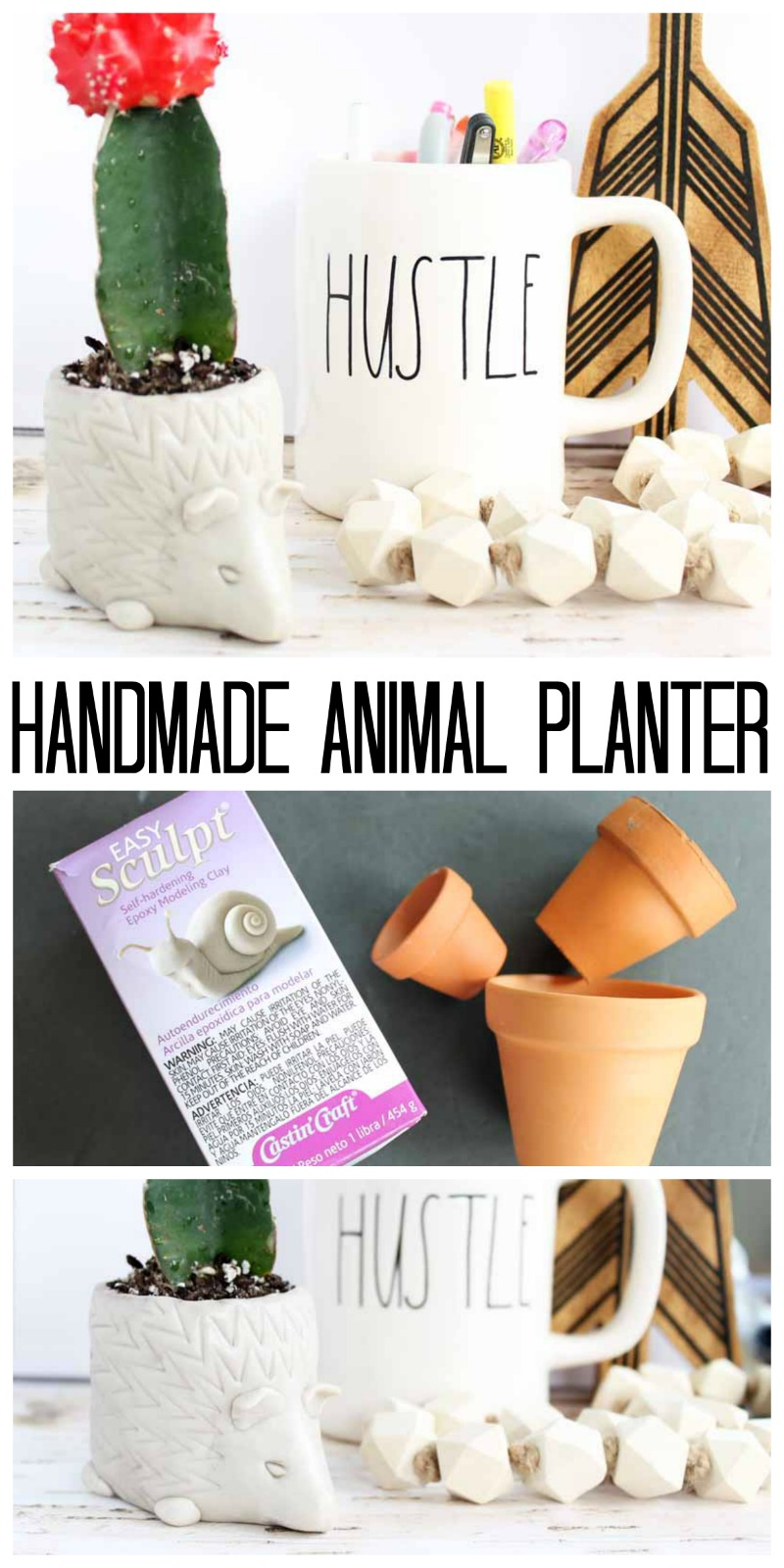 Make this handmade animal planter as a hedgehog or any other shape!