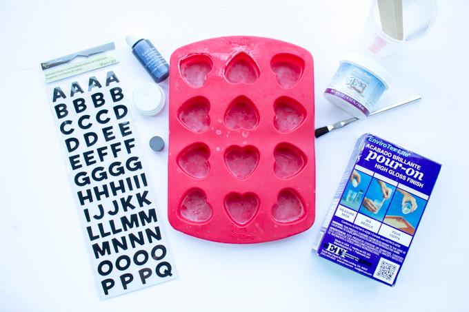 Supplies needed to make monogram heart-shaped DIY fridge magnets