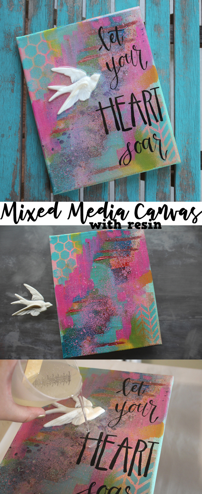 Mixed Media Resin Canvas Crafts