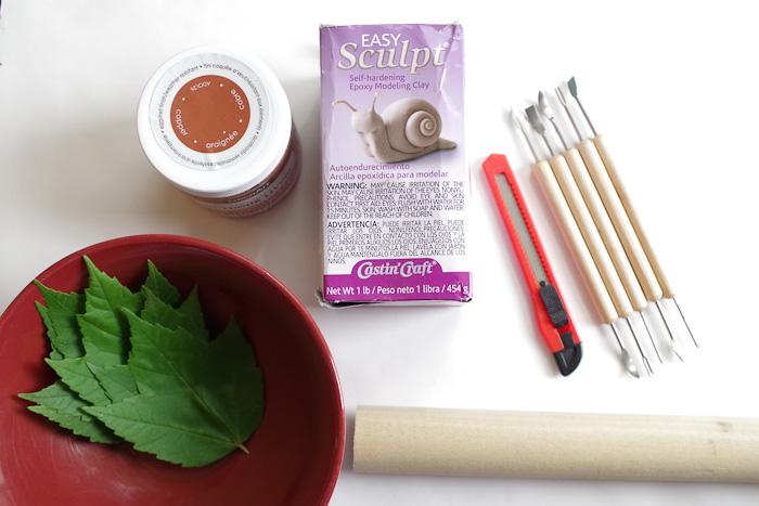 DIY Leaf Imprint Clay dish-supplies