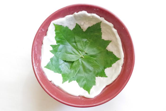 DIY Leaf Imprint Clay Bowls - press leaves into clay