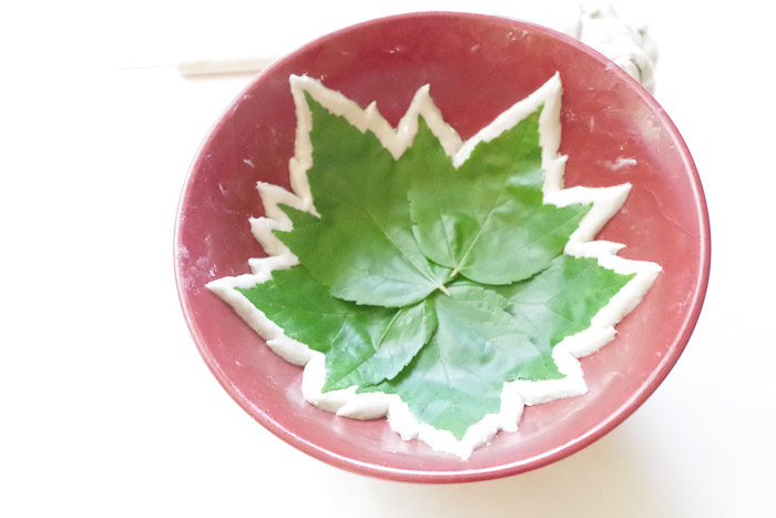 DIY Leaf Imprint Clay Bowls- clay cut and ready to cure