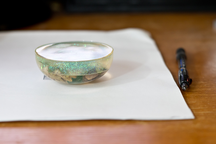 Layering Resin to make paperweight- see the layers