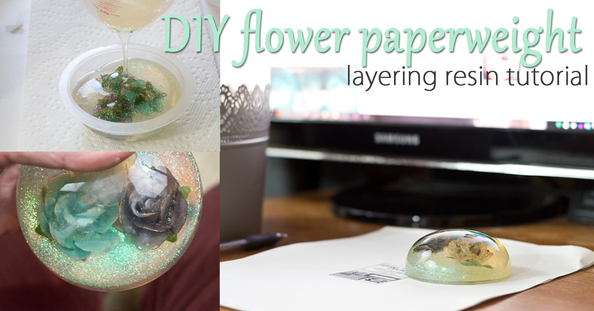 layering resin to make paperweight - social media image