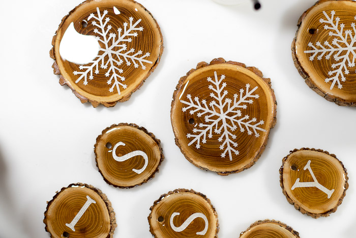 Resin Coated Merry Christmas Wood Slice Garland - wood slices coated in resin, let cure for 24 hours