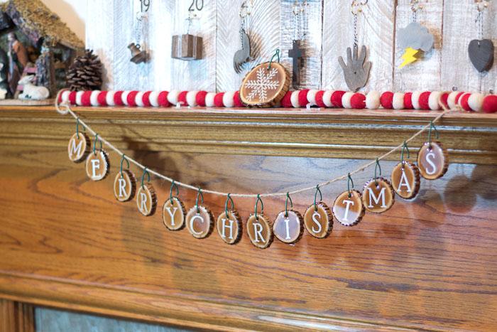 Resin Coated Merry Christmas Wood Slice Garland - resin coated wood slices finished, hang on string to make garland