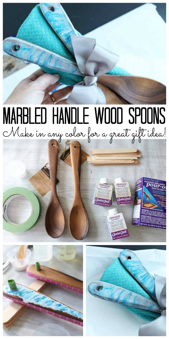Make these marbled handle wood spoons as a great gift idea this holiday season!