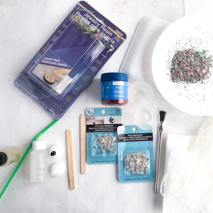 Supplies needed for DIY resin stud earrings