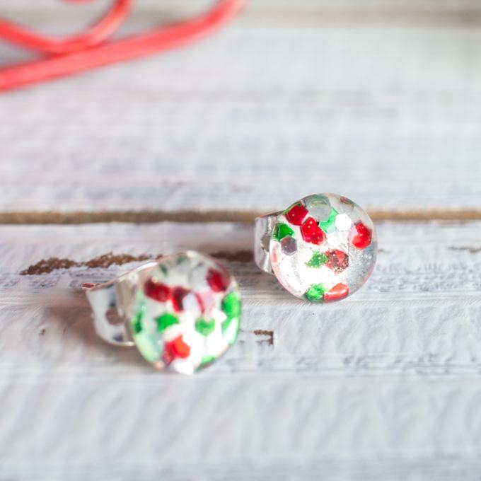 DIY Christmas glitter Resin stud earrings