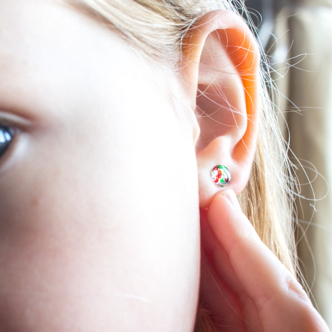 DIY resin stud earrings for Christmas   Simple jewelry gift idea