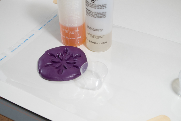 Snowflake mold and castings- part a and b of fastcast urethane casting resin