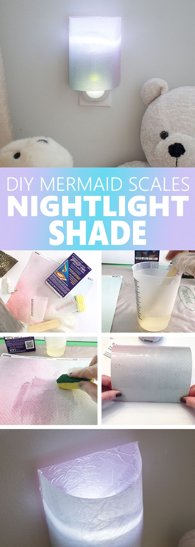 So clever! Mermaid-themed shade for a nightlight. Learn how to make a resin paper DIY night light cover. Cute kids bedroom decor. #resincrafts #resincraftsblog #mermaid #nightlight