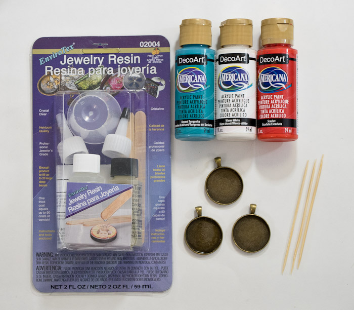 Paint and Resin Necklaces - supplies