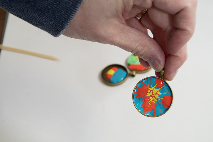 Paint and Resin Necklaces - drag from one color to next, do not overmix