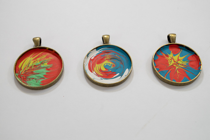 Paint and Resin Necklaces - let paints dry completely