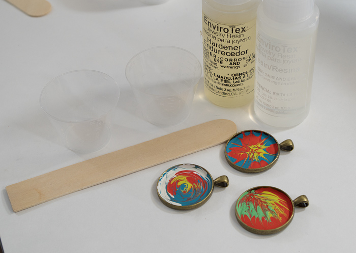 Paint and Resin Necklaces - supplies for applying resin