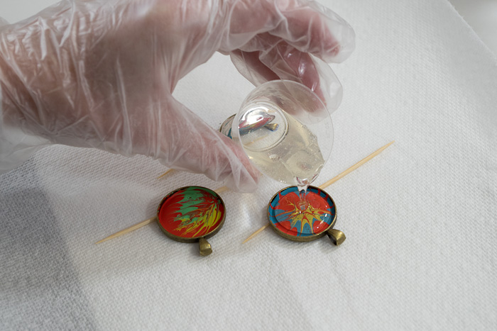 Paint and Resin Necklaces - pour resin into bezels