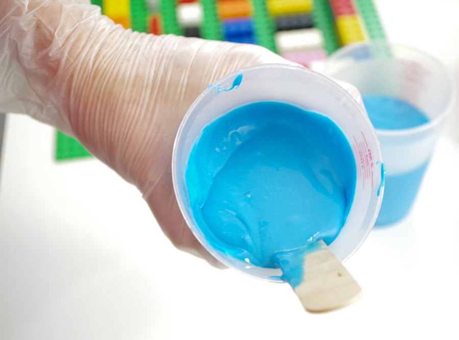 DIY Lego Mold using silicone rubber - be sure it is completely mixed