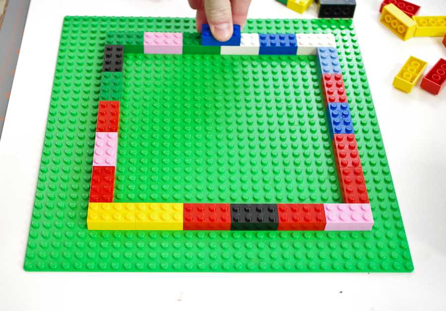 DIY Lego Mold using silicone rubber - start by building a outer form using 2x4 blocks two layers tall