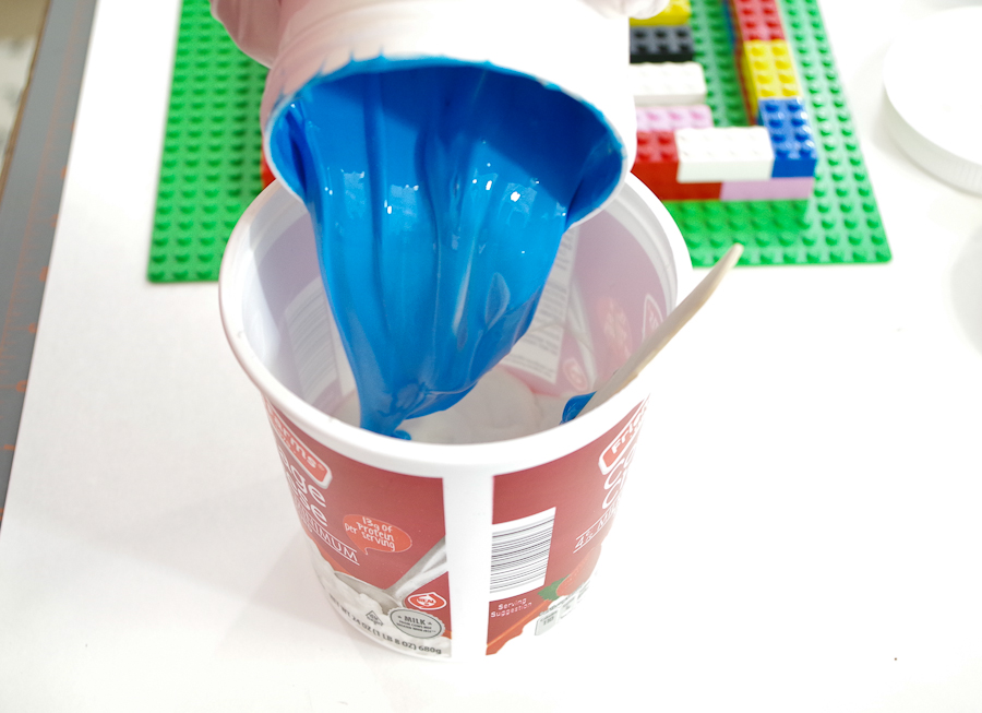 DIY Lego Mold using silicone rubber - pour part B into same container and mix thoroughly
