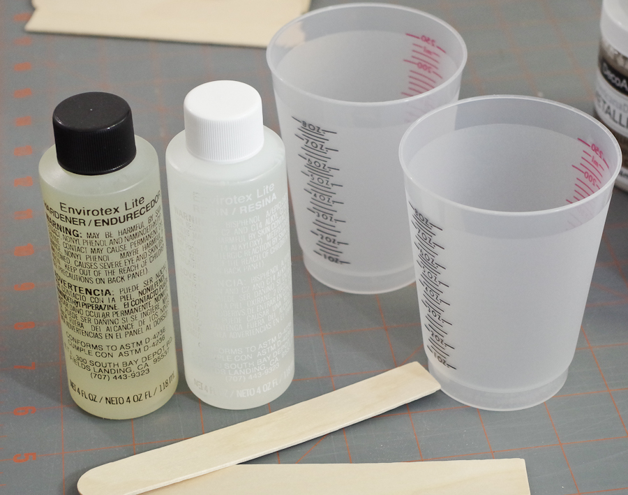 Metallic Poured Resin Art on Canvas_prepare to mix resin