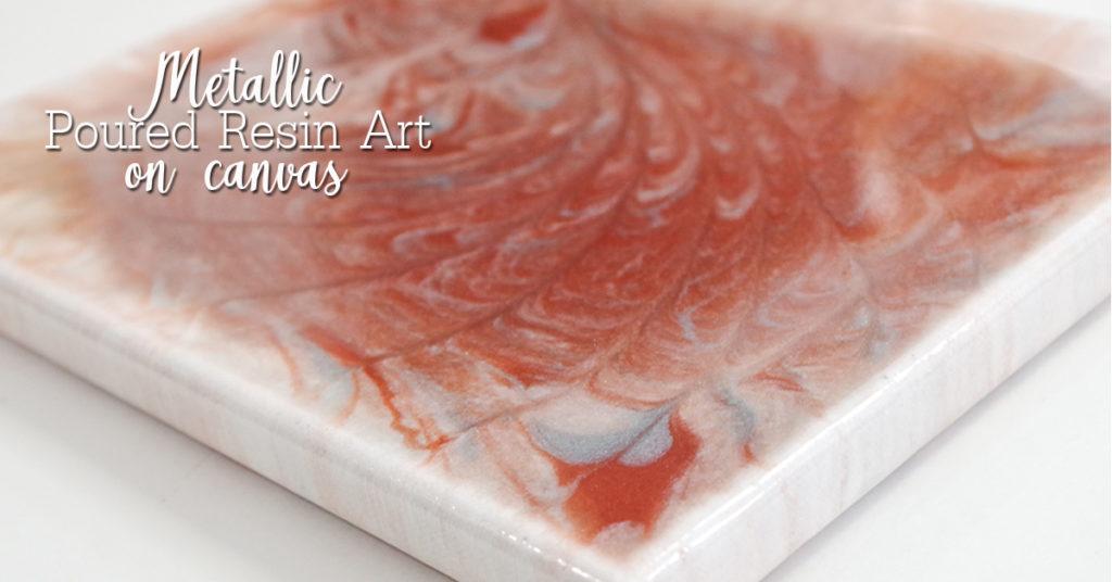 metallic poured resin art on canvas social media image