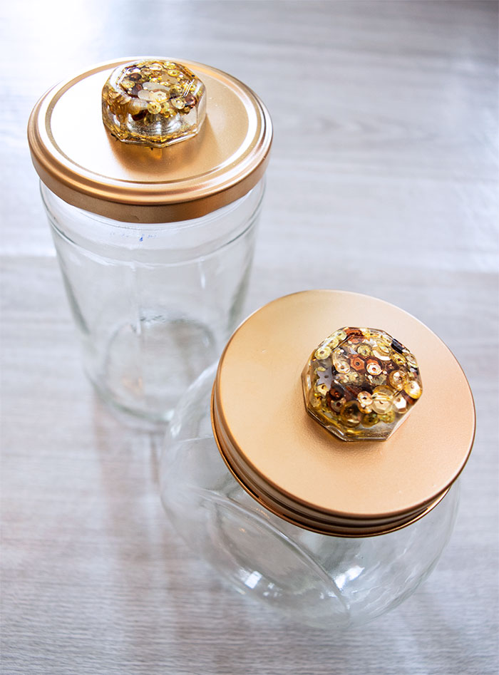 Sequin Resin Knobs on Repurposed Jars